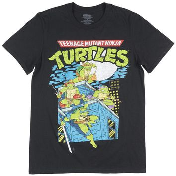 ca auguau Teenage Mutant Ninja Turtles T-Shirt Mens Black TMNT