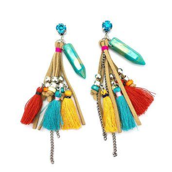 Turquoise charm drop earrings with beaded leather and colorful tassels