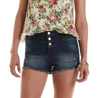 "Refuge ""Hi-Waist Shortie"" Cut-Off Denim Shorts"
