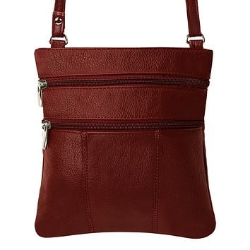 Genuine Leather Multi-Pocket Crossbody Purse Bag - Burgundy