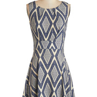 ModCloth Mid-length Sleeveless A-line Name of the Game Night Dress in Diamonds