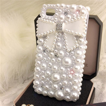 Handmade bow iphone 5s iphone 4 iphone 6 6 plus case, samsung galaxy note 4 note 3 note 2 case cover,pearls galaxy s5 s4 case