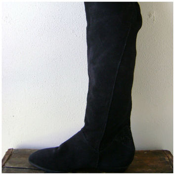 80s black KNEE HIGH boots vintage suede leather tall thigh high slouchy shoes size 8 hippie boho 1980s retro sexy shoes hipster riding boot