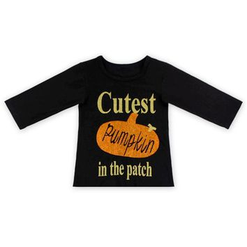 Black Knit Cotton Pumpkin In Patch Baby Girls Tees Sale 5T Autumn Halloween Toddler Kids Clothes Three Quarter Girls Shirt Top