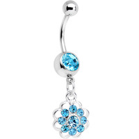 Aqua Gem Blossoming Flower Dangle Belly Ring | Body Candy Body Jewelry