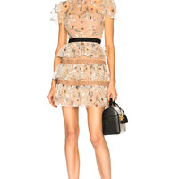 self-portrait Star Mesh Tiered Dress in Nude | FWRD