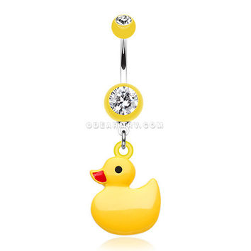 Classic Yellow Ducky Belly Button Ring (Yellow)