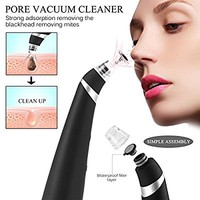 Vikeepro Blackhead Removal Electronic Facial Pore Cleaner Acne Remover Utilizes Pore Vacuum Extraction, Comedone Extractor (Black)