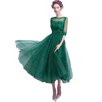 Short A line Mint Emerald Green Lace Tulle Beaded Formal Long Appliques special occasion Evening Dresses With Half Sleeve B45
