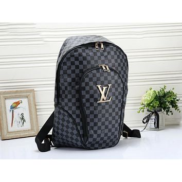 Louis Vuitton LV Fashion Woman Men Leather Travel Bookbag Shoulder Bag Backpack Black Tartan