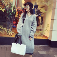 Casual Womens Plain Dresses polyacrylonitrile fiber Maxi Straight Autumn and winter style = 1946154692