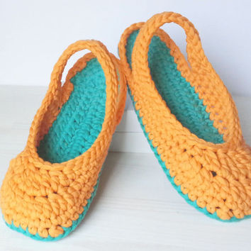 Crocheted Sandals, Slingbacks, optional Outdoor-Sole, comfort, washable
