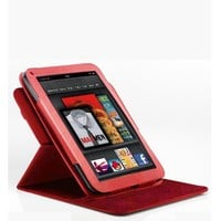 Poetic 360 degree Rotary leather case for Amazon Kindle Fire Landscape / Portrait View Hot RED Not compatible with Kindle Fire HD tablet