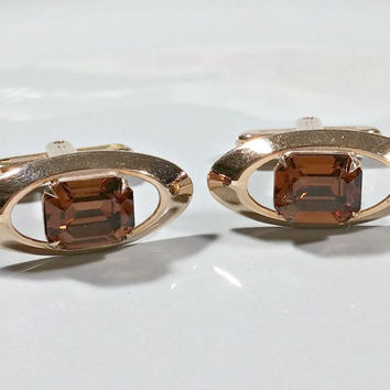 Jeweled Cufflinks Rhinestone Golden Brown Signed Hickok USA Gold Plated Oval Cufflinks Floating Jewel Illusion Setting Prong Set Glass Stone