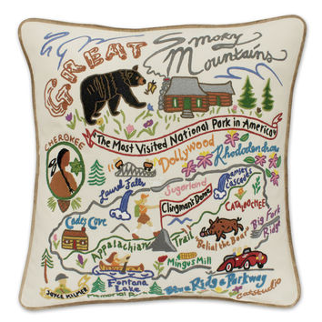 Great Smokey Mountains Hand Embroidered Pillow