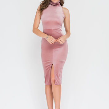 Plush Pleasure Ribbed Velvet Midi Dress