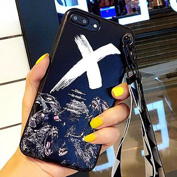 X Logo Pattern Case for iPhone X 8 7 6S Plus &Gift Box