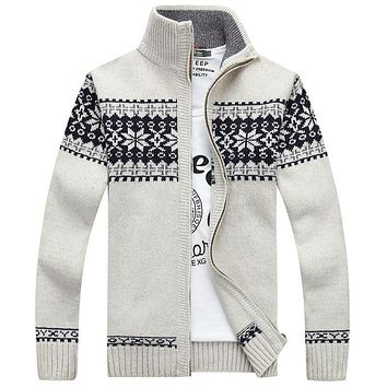 winter 2017 cotton mens fashion boutique jacquard standing collar leisure knitting sweater Men cardigan zipper quality sweaters