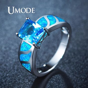 UMODE Engagement Blue Square Opal Rings for Women Pearlescent Crystal Stone Fashionable Wedding Jewelry bijoux femme UR0412