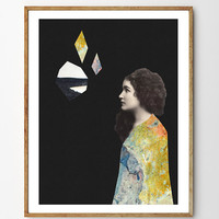 She - Archival Giclee Art Print, collage, vintage, mixed media art