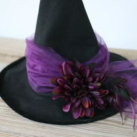 Witch Hat, Halloween Witch hat, Witch costume, Women witch hat, Deluxe witch hat, Black Purple Witch hat