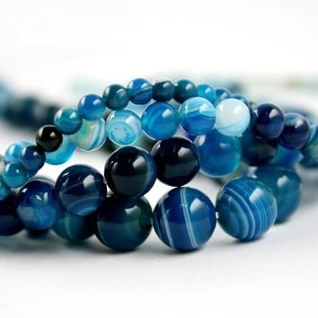 High Quality Blue Stripe Onyx Agate Round Bead Natural Stone Beads 4mm 6mm 8mm 10mm A-string