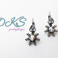 Swarovski Snowflake Earrings, Lever Backs, Drops, AB, Crystal, Winter, Holiday, 1.5in. Drop, DKSjewelrydesigns, FREE SHIPPING