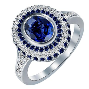 silver plated engagement rings New vintage Royal blue white zircon Jewelry Wedding gift for women hot sale luxury promise rings