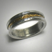 Rustic wedding band for men or women - custom handmade mixed metalwork men's engagement ring - brass and silver distressed wedding band