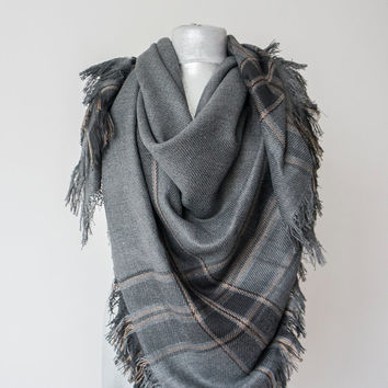 Dark Grey Blanket Scarf Plaid Scarf Holiday Fashion Christmas Gift Fashion Accessory Women Accessory - Gift For Her For Him Men Women