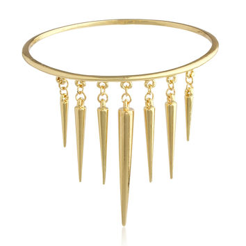 Goldtone Simple Arm Cuff with Dangling Spikes