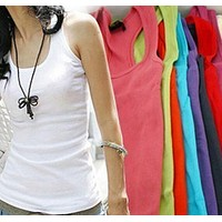 Womens Solid Slim Summer Sleeveless Jersey Cotton Tank Camis Sexy Top