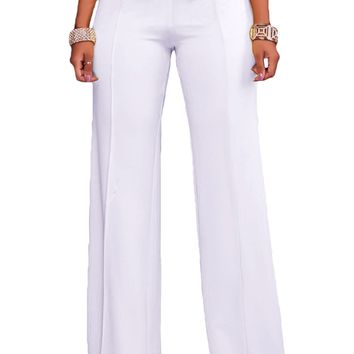Chicloth White Gold Zipper Detail High Waist Palazzo Pants