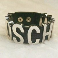 DCCKJ1A MOSCHINO Stylish Women Simple Personal Metal Pu Leather Bracelet Hand Bracelet Hand Catenary Silver