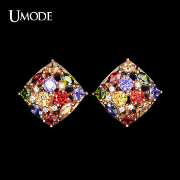 UMODE Rose Gold Color Multicolor and Multishape CZ Earrings UE0087