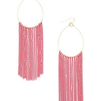 Red Chain Fringe Earrings