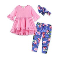 Newborn Baby Girl front short back long T-shirt+Floral Long Pants+Bow Headband Outfits Children Clothes