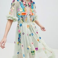 ASOS EDITION Bird Embellished Smock Midi Dress at asos.com