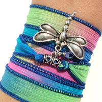 Dragonfly Silk Wrap Bracelet Yoga Jewelry Boho Chic Hippie Colorful Bohemian Unique Gift For Her Birthday Under 50 Item V51