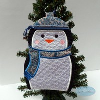 Blue Snowflake Penguin Zipper Case, Gift Holder, Stocking Stuffer