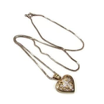 Danbury Mint The Lord's Prayer Heart Pendant, Sterling Silver, Vermeil Gold Plated, Vintage Jewelry, 18 Inch Chain, Heart Necklace, Cross