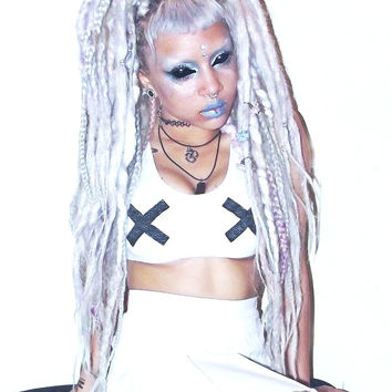 "Bra crop top SM "" Fetish tits"" glitter cross Cyber Goth Festival Rave seapunk Grunge 90's kawaii Fashion tumblr"
