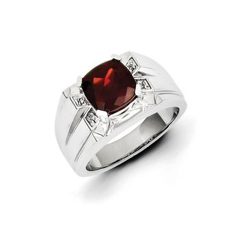 Cushion Cut Garnet & Diamond Tapered Ring in Sterling Silver