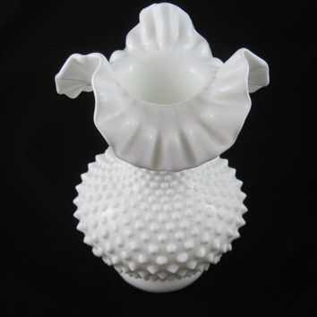 "Fenton Milk Glass, Hobnail Vase 10.5"", Crimped Ruffled Top, Pure White"