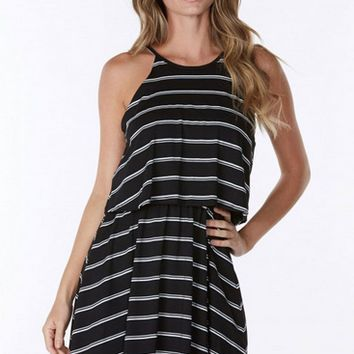 Halter Elastic Waist Stripe Mini Dress