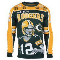 Green Bay Packers Aaron Rodgers #12 Big Logo Ugly Sweater Sizes S-XXL w/ Priority Shipping