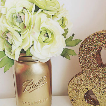 Metallic Gold Mason Jars - Mason Jar Centerpiece - Mason Jar Wedding Decor - Home Decor - Office Decor - Flower Vase