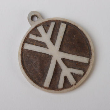 Pendant necklace handcrafted jewelry Slavic symbols polymer resin amulet