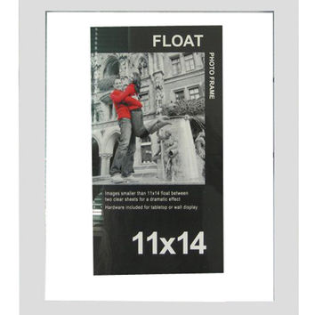 "Wood Float Tabletop Photo Frame 11""x14""-White 