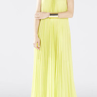 Yellow BCBG Meghen Halter-Neck Pleated Gown